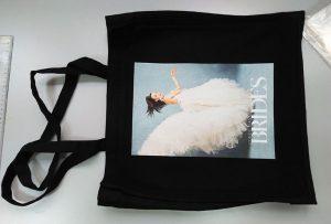 Schwarze Probe Tasche von UK-Kunden wurde von dtg Textildrucker gedruckt